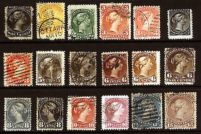 Canada #21-#40 1868-77 Queen Heads Nice Used Lot 18 items