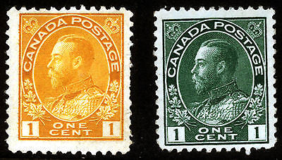 Canada #104 1c Dark Green & #105 1c Orange Yel 1911-22 King George V VF *MNH*