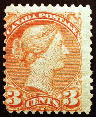Canada #37 3c Orange Red 1873 Small Queen Victoria VF MLH Rare