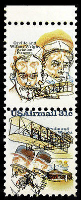 #C91 C92 31c Wright Bros 1978 Vert Pair Massive Missing Blue Shift Errors *MNH*