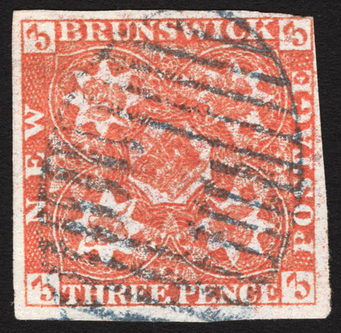 New Brunswick #1 3p Red 1851 VF Used Blue Barred Oval Cancel Rare