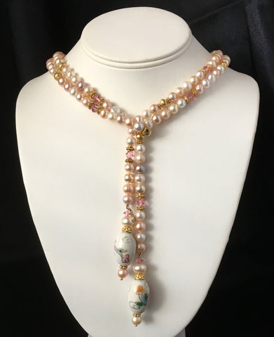 "Pastel Colored Genuine Cultured Pearl Lariat 46"" Necklace & 2 Pairs Earrings 3 Piece Matched Set"