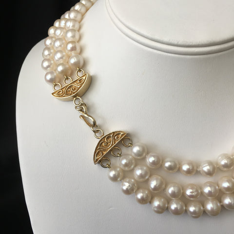 Three Strand Genuine Cultured Pearl Necklace