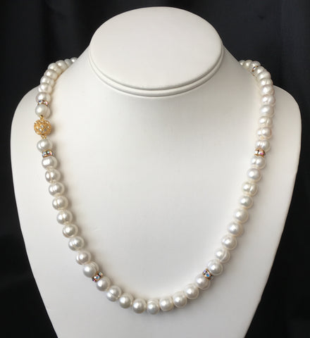 Genuine Cultured 9-10mm Pearl and Crystal Necklace and Earrings Set