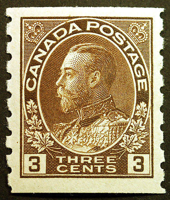 Canada #129 3c Brown 1918 King George V Perf 8 Coil VF MLH