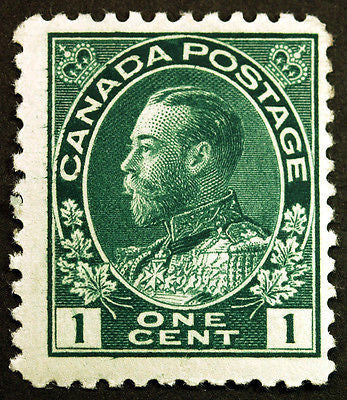 Canada #104viii 1c Dark Green 1911 King George V with Hairlines Fresh *MNH* Rare
