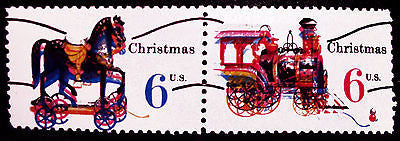 #1415a #1416a 6c Christmas 1970 Horiz Precancel Pair Massive Color Errors *MNH*