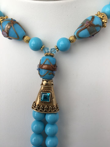 Turquoise-Colored Jade and Lamp Glass Necklace & Earrings