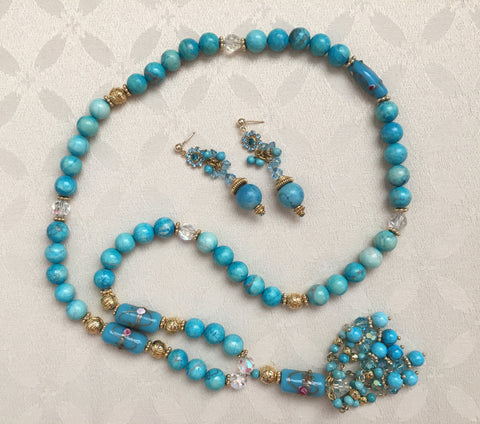 Turquoise, Lampwork, and Gold Vermeil Tassel Necklace and Earrings Set