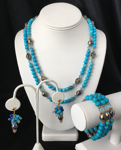 Turquoise and Navy Blue Cloisonné Necklace and Earrings Set