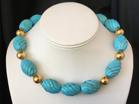 "Turquoise ""Swirls"" Carved Stones Necklace"