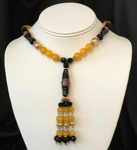 Yellow Jade and Onyx Necklace, Bracelet, 2 Pairs Earrings Complete 4-Piece Matched Set