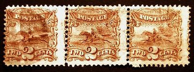 Classic U.S. #113 2c Brown 1869 Rare Used Strip of 3 with Segmented Cross Roads