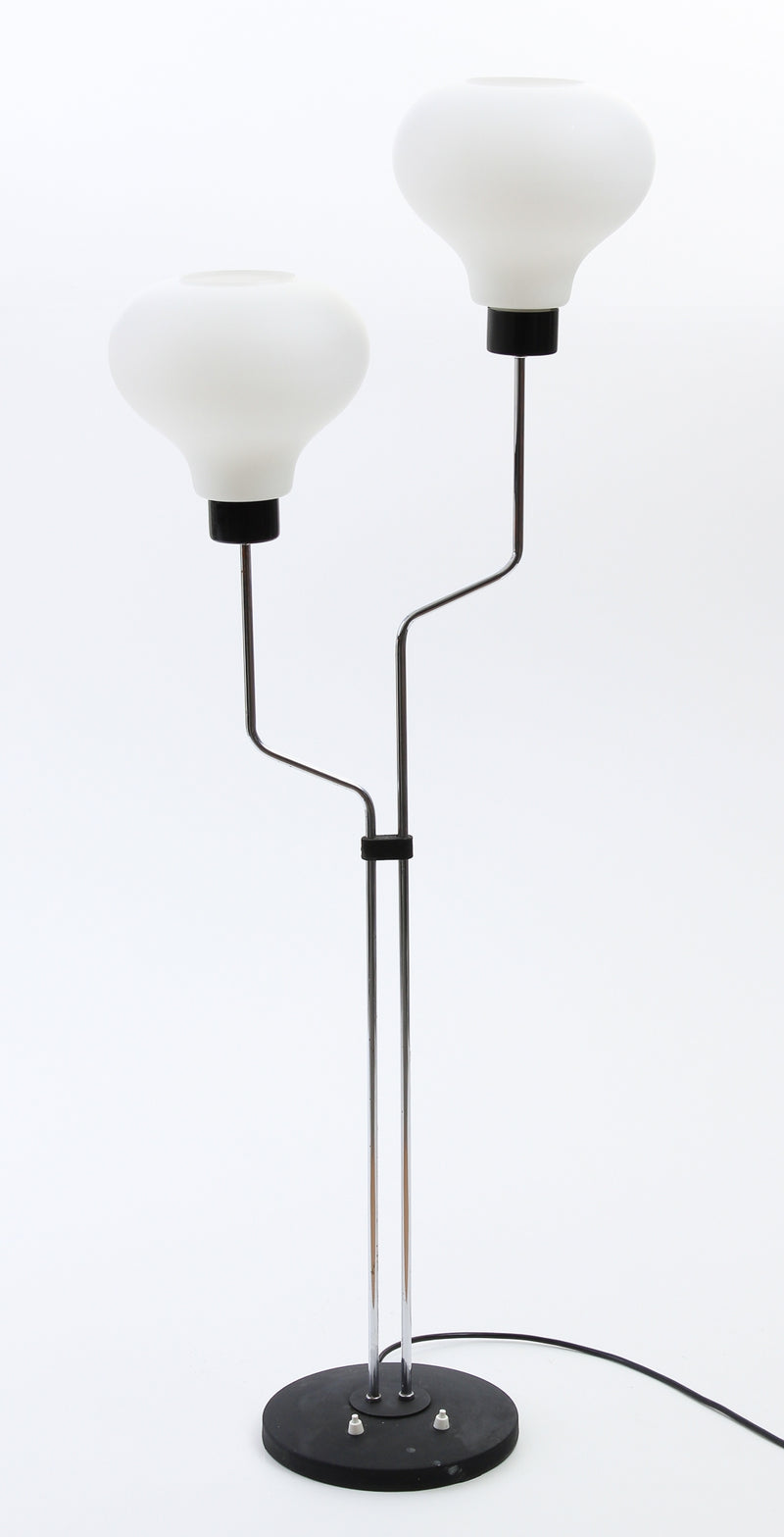 Floor lamp in Chrome and Glass Central Europe 1970s C63