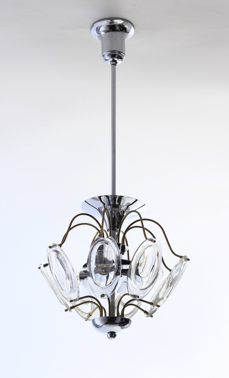 Ceiling lamp in chrome and glass A68