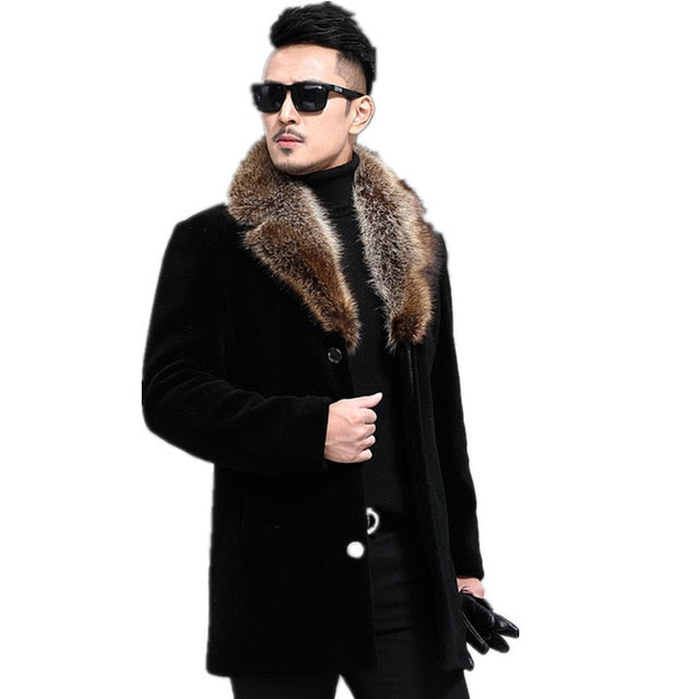 6thAvenueStreetWear: 2020 Autumn And Winter New Woolen Coat Men's Single-breasted Thickened Medium-Length Woolen Trench Coat Woolen Coat Men