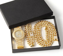 Load image into Gallery viewer, 6thAvenueStreetWear: Gold Necklace +Watch+Bracelet Hip Hop Miami Curb Cuban Chain Gold Full Iced Out Paved Rhinestones CZ Bling For Men Jewelry