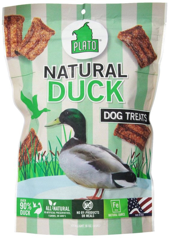 Plato Natural Duck Dog Treats  16 oz
