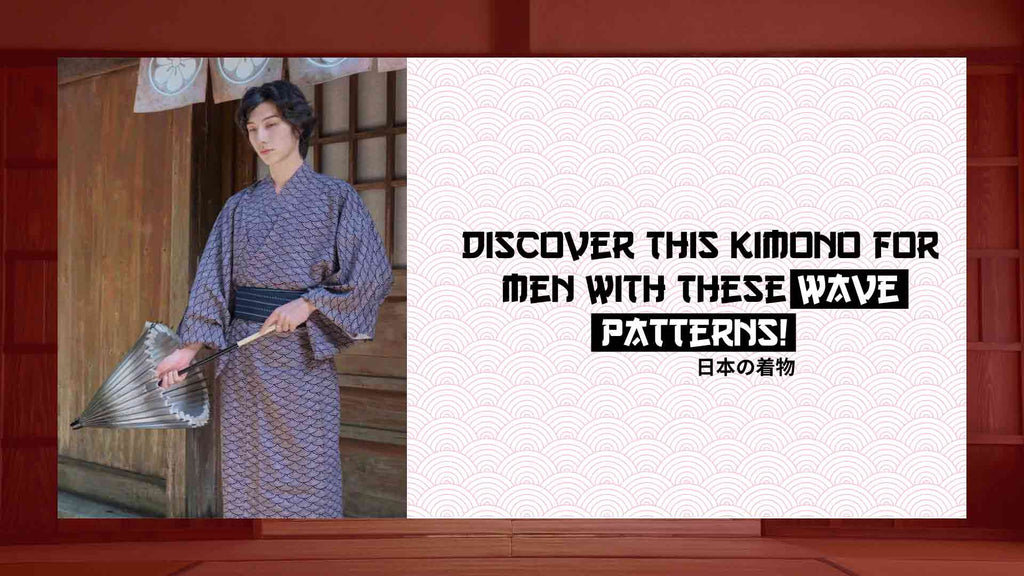 Kimono for men with wave pattern