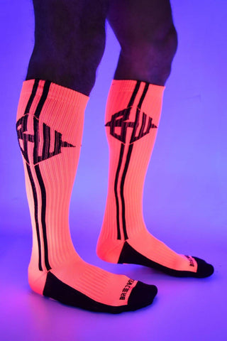 Breedwell - Blacklight Icon Socks - Neon Pink