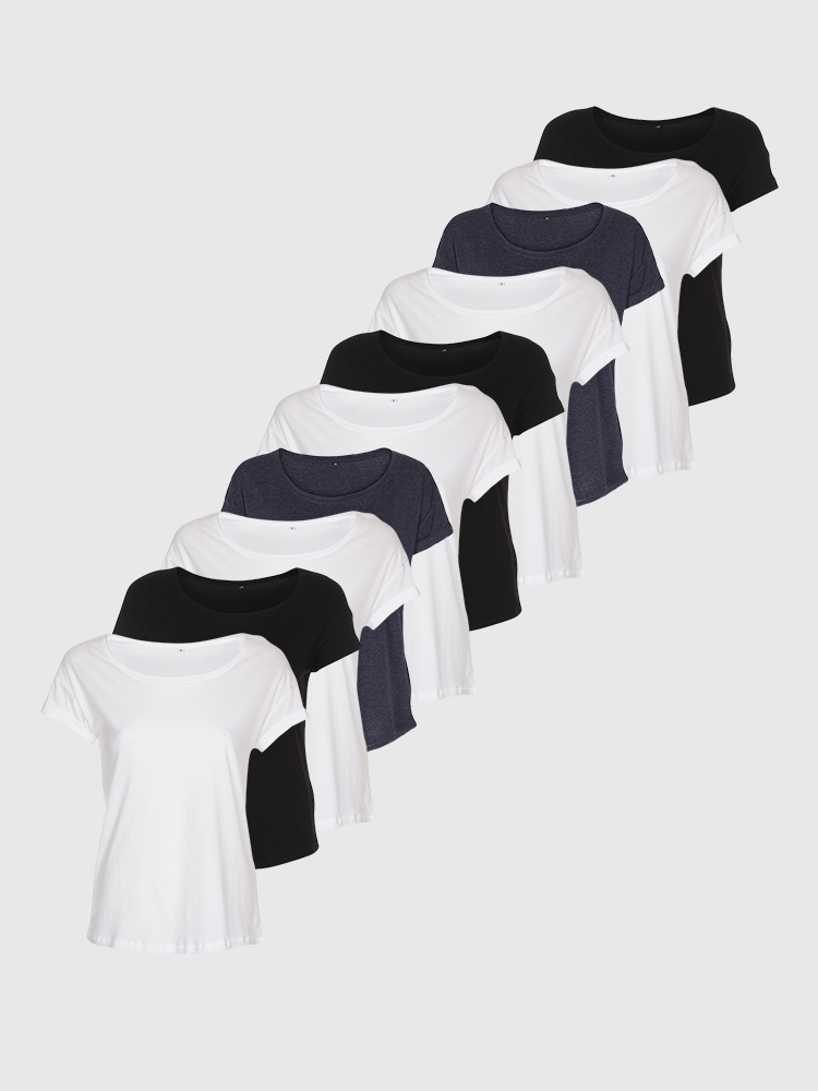 10 stk. Loose fit T-shirt - Bland selv