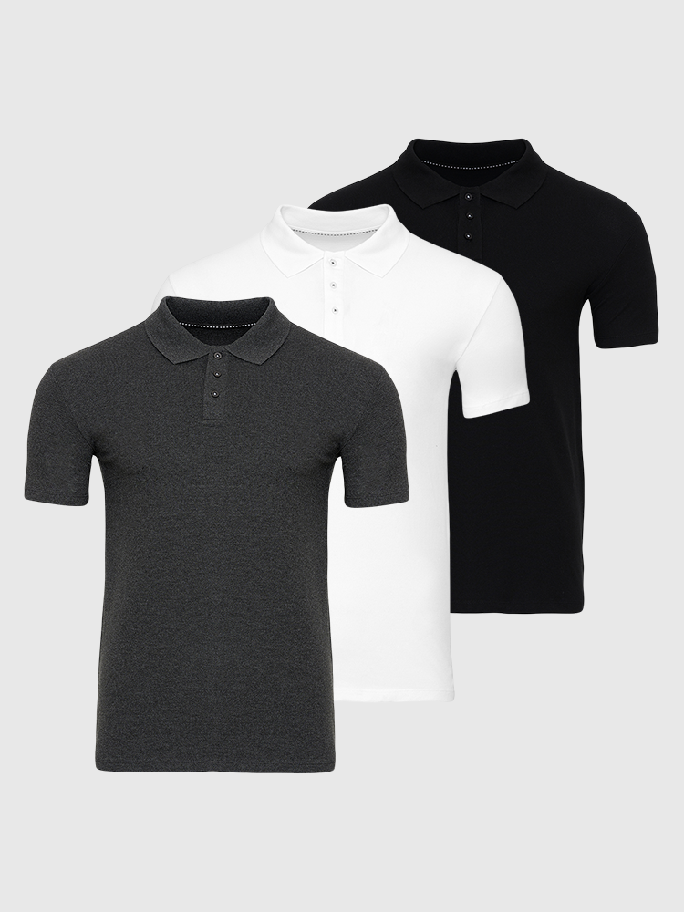 3 stk. Muscle Polo - Bland Selv