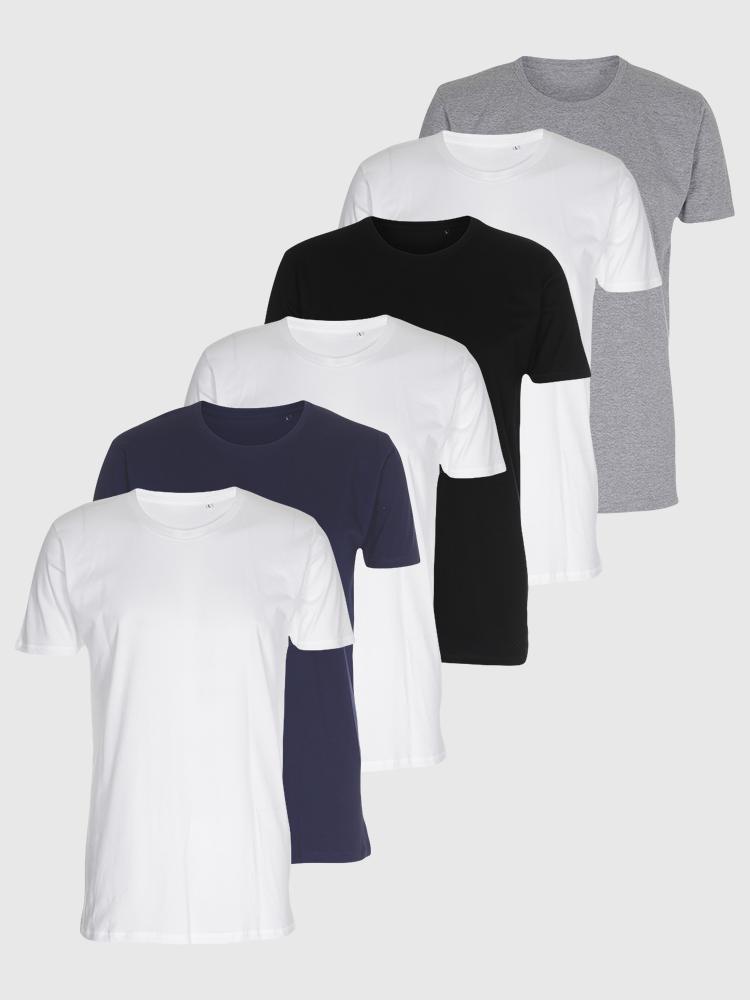 6 stk. Muscle T-shirts - Bland Selv
