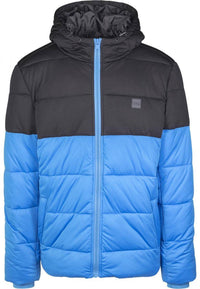 Hooded 2-Tone Puffer Jacket - Blå-Sort - Herre - Packshot - Teeshoppen