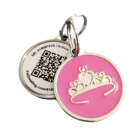 Buy the Pink Tiara Colored QR Code Dog Id Tag - Wildog