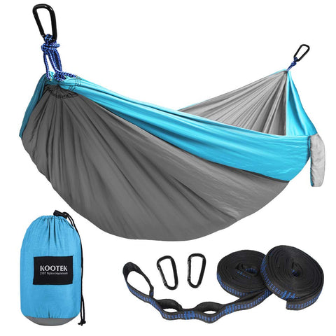 Buy the Large Grey/sky Blue Camping Hammock With Bug Net - Wildog