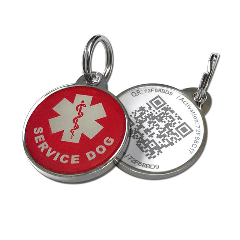 Buy the Red/white Colored Scannable Service Dog Tag - Wildog