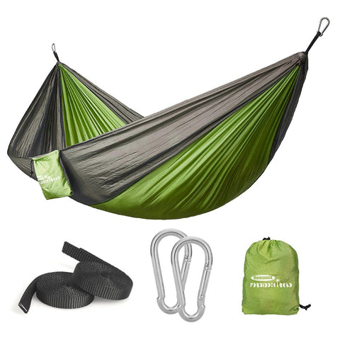 Green/grey Twin Camping Hammock With Mosquito Net - Wildog