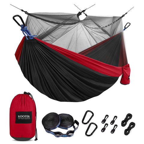 Buy the Red/dark/black 2 Person Camping Hammock - Wildog