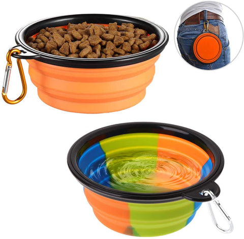 Two Silicone Collapsible And Foldable Dog Water & Food Bowl - Wildog