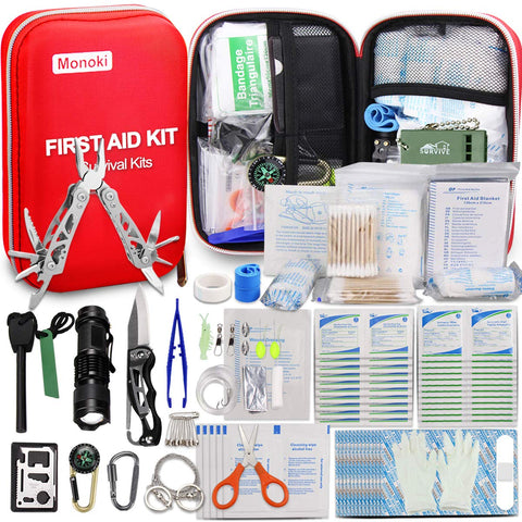 Buy the Red Colored 241 Piece Outdoor First Aid Kit - Wildog
