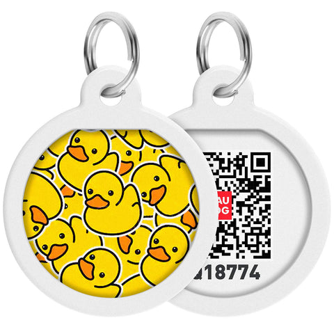 Buy the Yellow Ducks Qr Code Dog Id Tag - Wildog