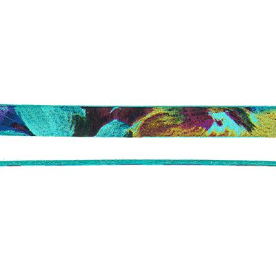 10mm Turquoise Floral Water Color Flat Leather - Goody Beads