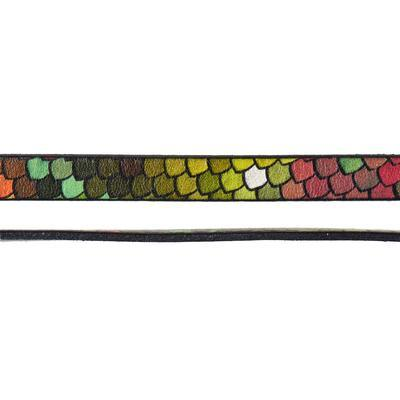 10mm Rainbow Scales Ornate Printed Flat Leather - Goody Beads