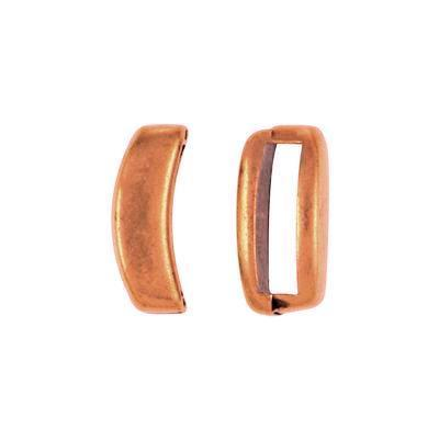 Antique Copper Crescent Slider for 10mm Flat Leather - Goody Beads