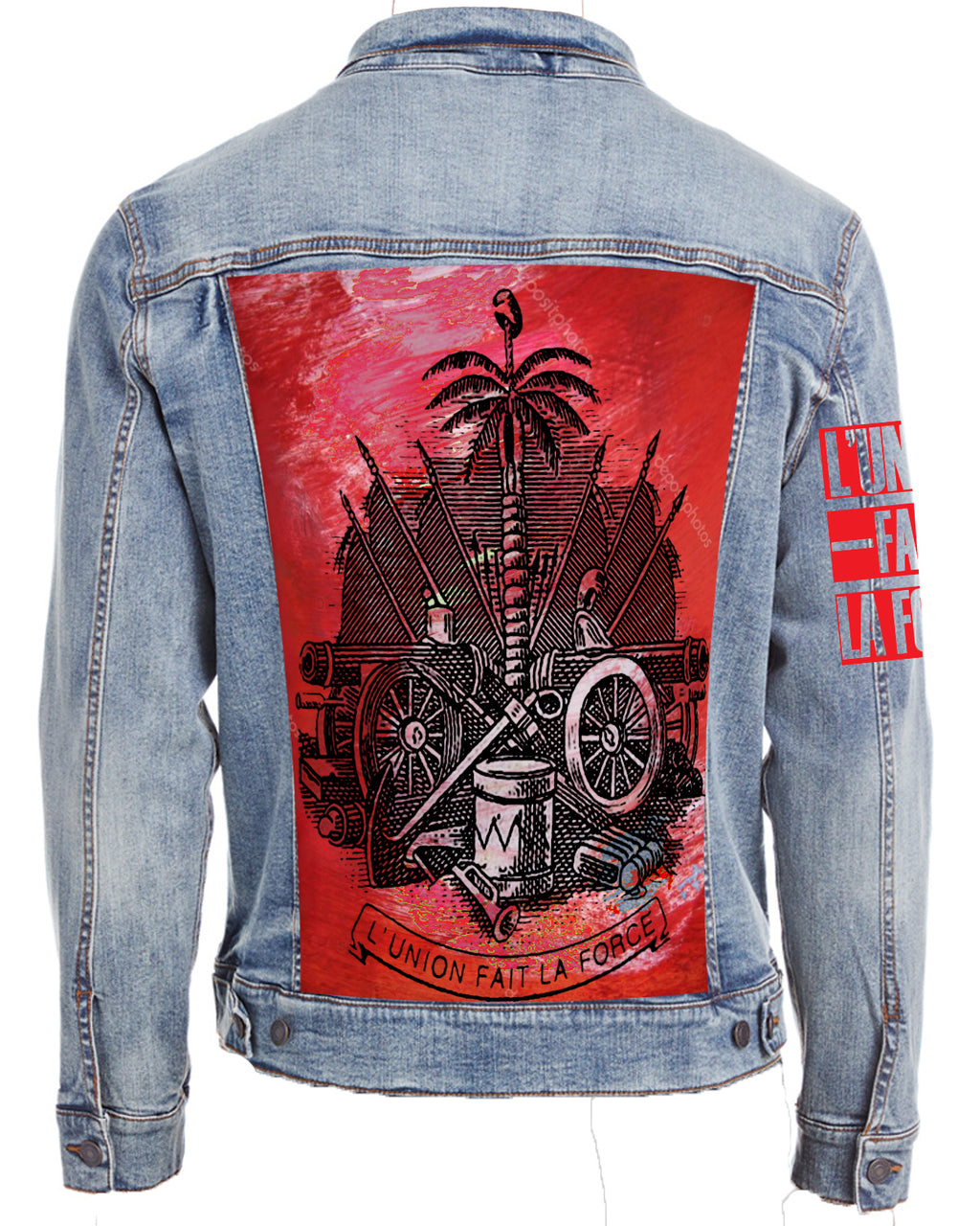 VINTAGE CREST DENIM JACKET-HAND PAINTED/INNER PRINT DESIGN (UNISEX)