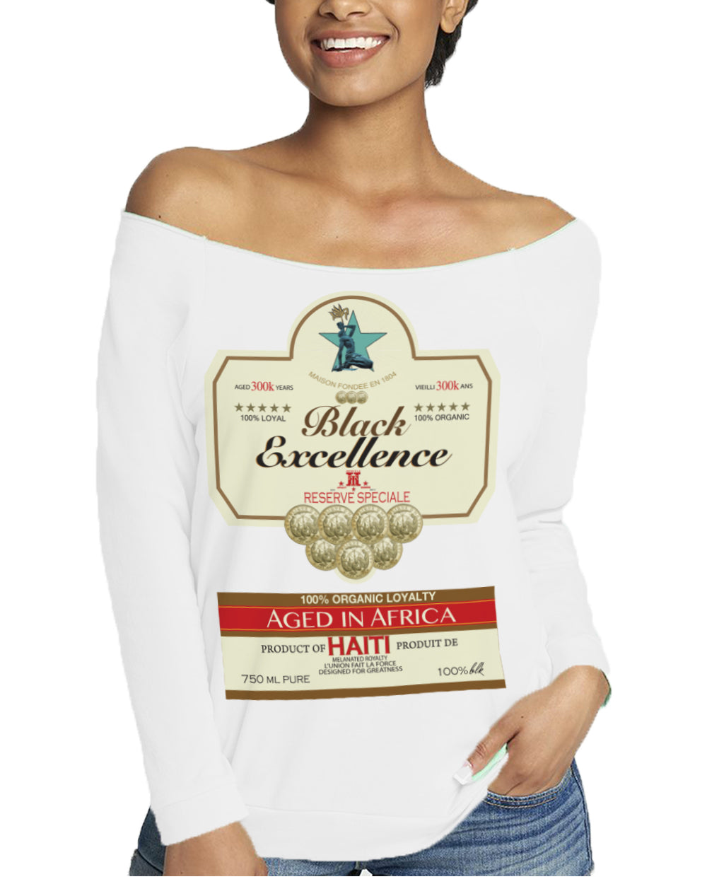 BLACK EXCELLENCE LABEL-OFF SHOULDER TOP