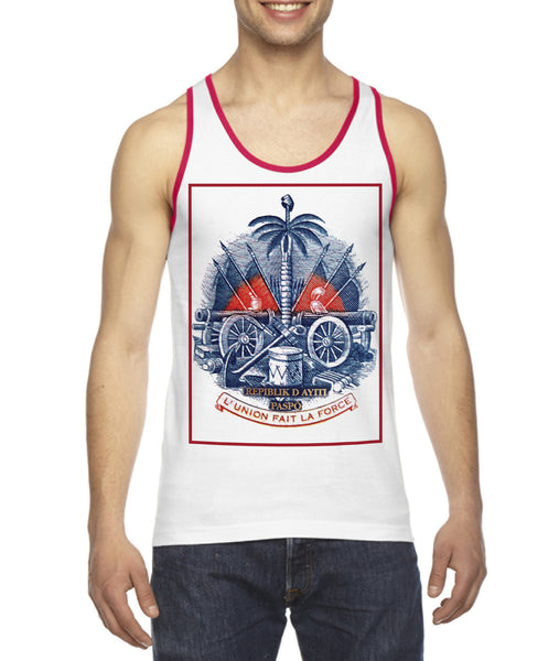 COAT OF ARMS (HAITI) RED/BLUE-RINGER TANK