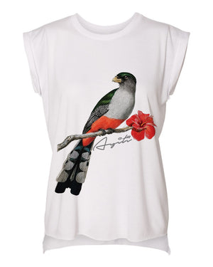 HISPANIOLAN TROGON BIRD-ROLLED CUFF MUSCLE TEE