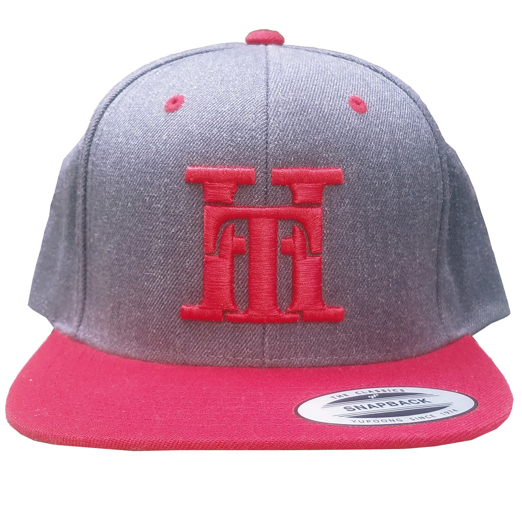 HT-HAT-HEATHER GREY/RED-(RED LOGO) SNAPBACK