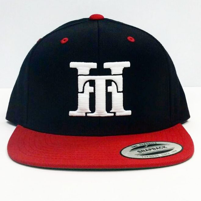 HT-HAT-RED & BLACK (WHITE LOGO) SNAPBACK