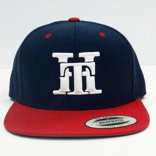 HT-HAT-NAVY BLUE & RED (WHITE LOGO) SNAPBACK