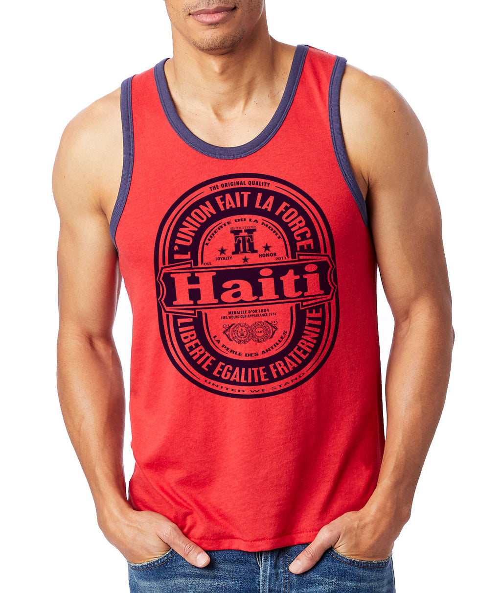 HAITI (L'union Fait La Force) RED/NAVY-RINGER TANK