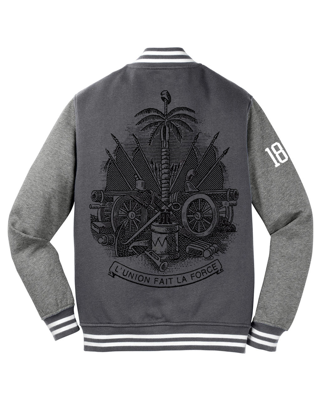CREST EMBLEM-LETTERMAN FLEECE VARSITY JACKET (MEN)