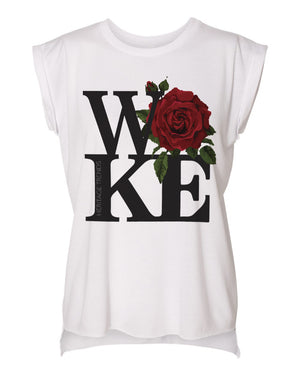 WOKE ROSE-FLOWY ROLLED CUFF MUSCLE TEE