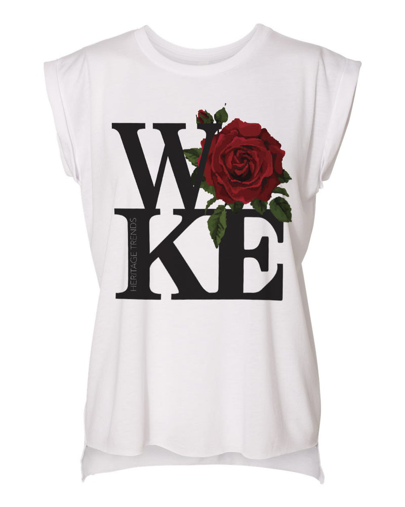 WOKE ROSE-FLOWY ROLLED CUFF MUSCLE TOP
